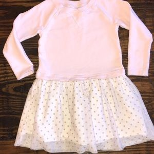 Girls pink dress with white/gold polka dot skirt 5